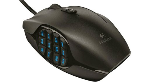 Vista laterale del mouse da gaming Logitech G600