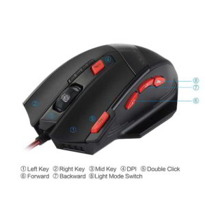 Vista area laterale del mouse da gaming CA58B prodotto da VicTsing