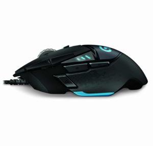 Vista fianco laterale del mouse da gioco G502 Proteus Core